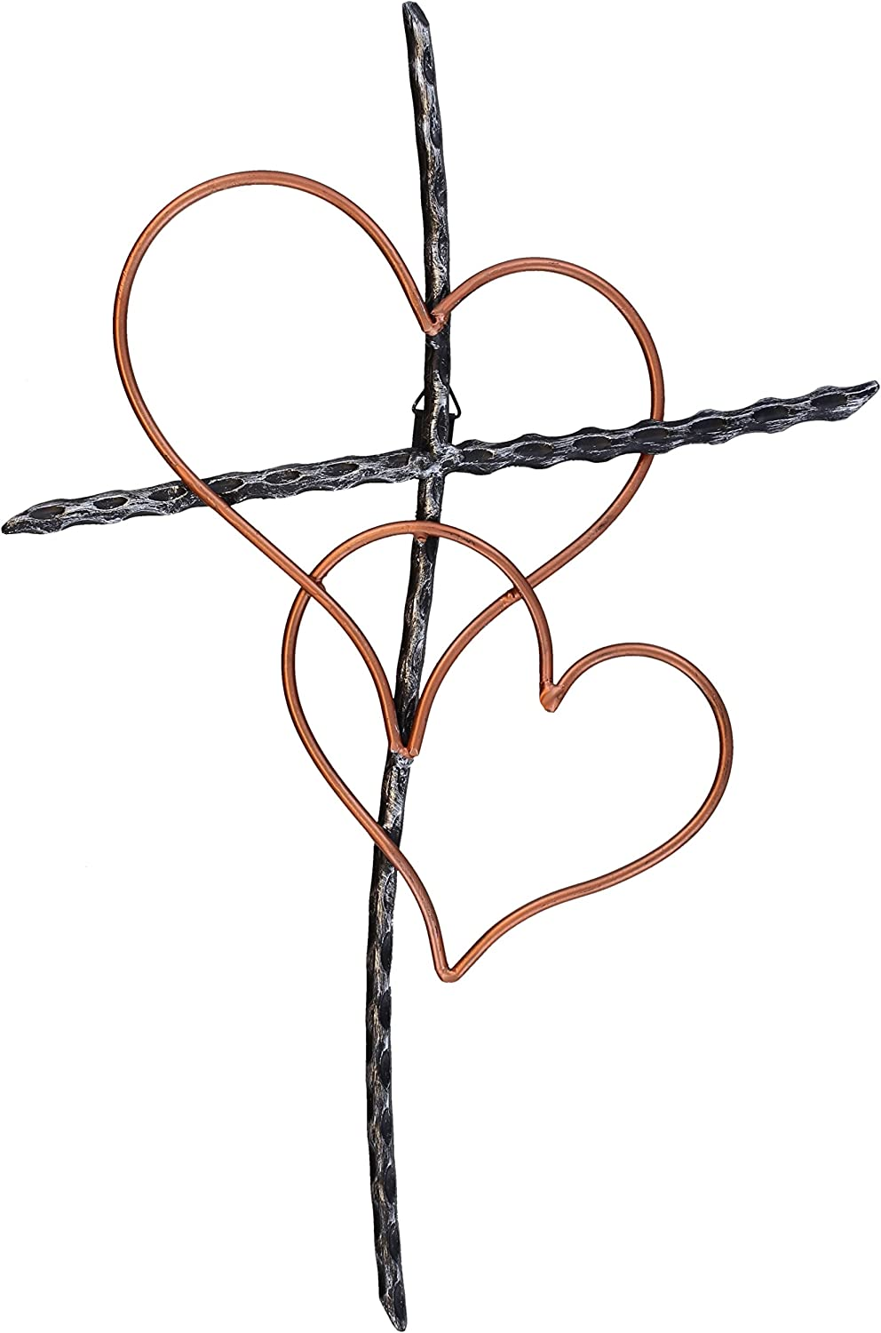 """Large 19 1/2"""" Entwined Hearts Decorative Metal Wall Cross - Joined Two Hearts, One Love Promises Kept"""