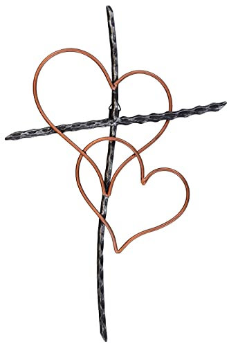 Old River Outdoors Large 19 1 2 Entwined Hearts Decorative Metal Wall Cross – Joined Two Hearts, One Love Promises Kept