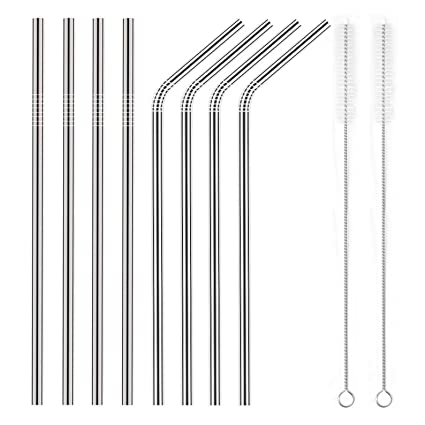 Aroic Stainless Steel Straws Set Of 16 Stainless Steel Ultra Long 10.5 Inch D... Kitchen, Dining & Bar