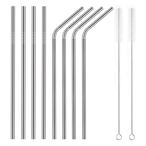 YIHONG 8 Pcs Reusable Metal Drinking Straws - 8 5Inch Stainless Steel  Straws - 6mm Diameter Wide- Compatible with 20oz Yeti Tumblers - For Cold