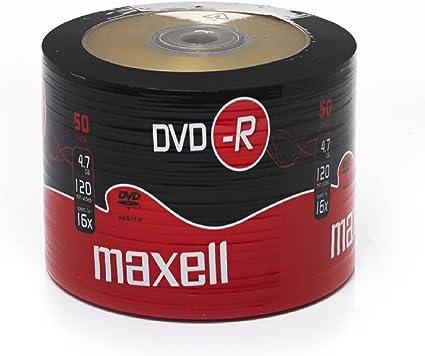 Bastidor tierra Maxell DVD-R 100 unidades en blanco discos grabables DVD 16 x 4,7 GB 120 min negro Maxell DVD-R 50 Pack: Amazon.es: Informática