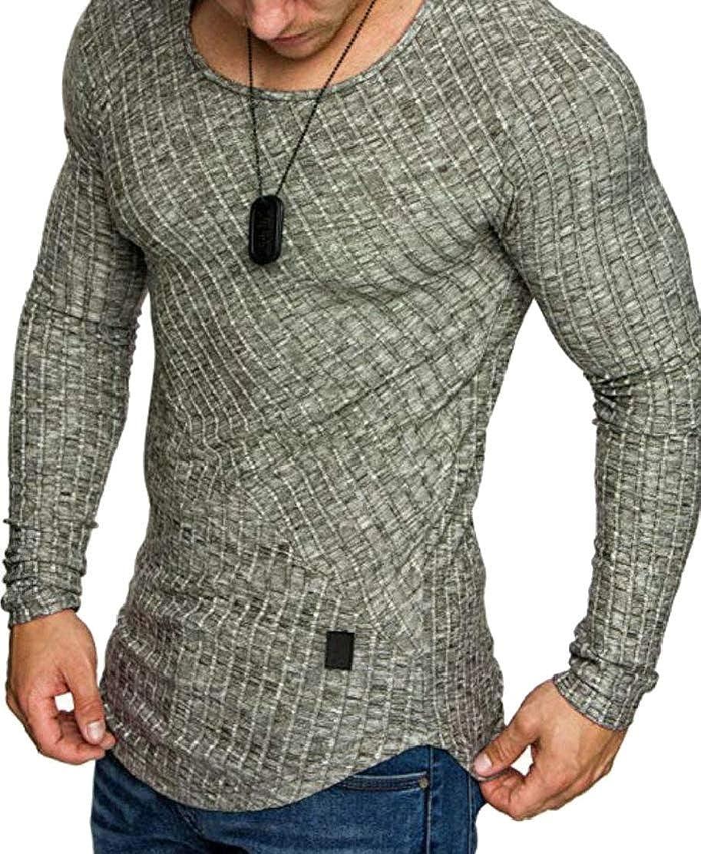 GloryA Men Long Sleeve Round Neck Plain Irregular Tops T-Shirts