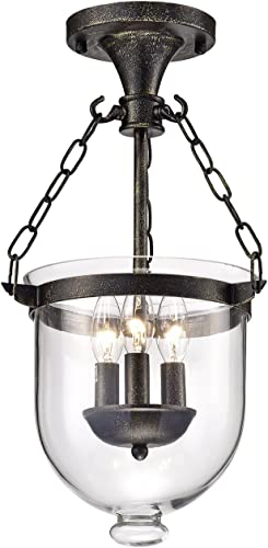 Edvivi Belita 3-Light Antique Bronze Semi Flushmount Chandelier