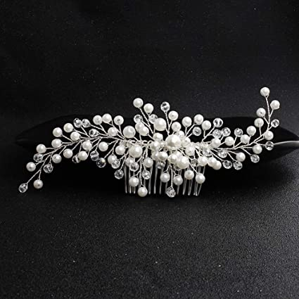 Beauty & Health New Fashion Ladies Silver Rhinestone Bridal Wedding Flower Pearls Headband Hair Clip Comb Hottest For Sale Hair Care & Styling