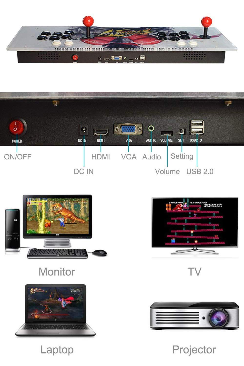 PinPle Arcade Game Console 1080P 3D & 2D Games 2350 2 in 1 Pandora's Box 3D 2 Players Arcade Machine with Arcade Joystick Support Expand Games for PC / Laptop / TV / PS4 (Arcade Machine) by PinPle (Image #3)