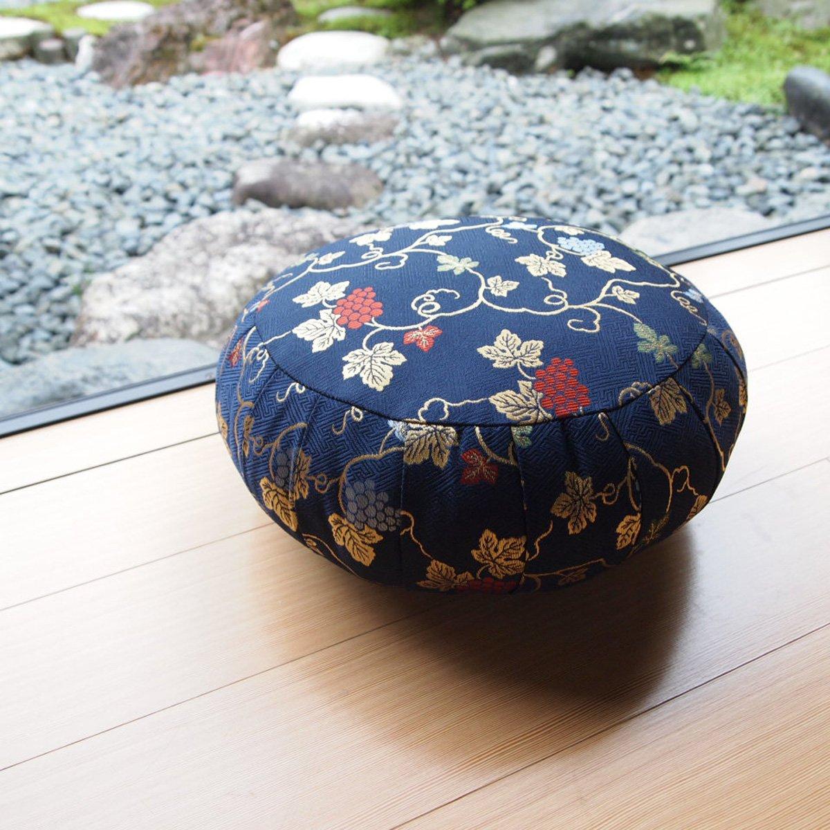 ヨガ座布団 yoga クッション(瞑想)座布座蒲座蒲座禅専用 座禅座布団 日本製 (33cm, 葡萄 紺) B074ZZM4T1 33cm|葡萄 紺 葡萄 紺 33cm