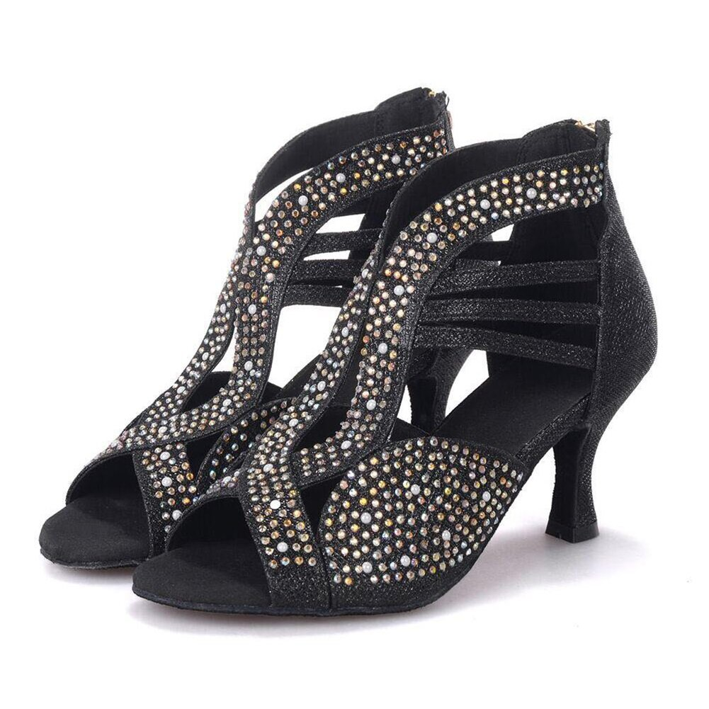 Onfly New Damen Latin Schuhe funkelnde Glitter Sandale Ballroom Schuhe/Fersen Performance/Professional Strass/Sekt Glitter Flared Heel eu size  38|C
