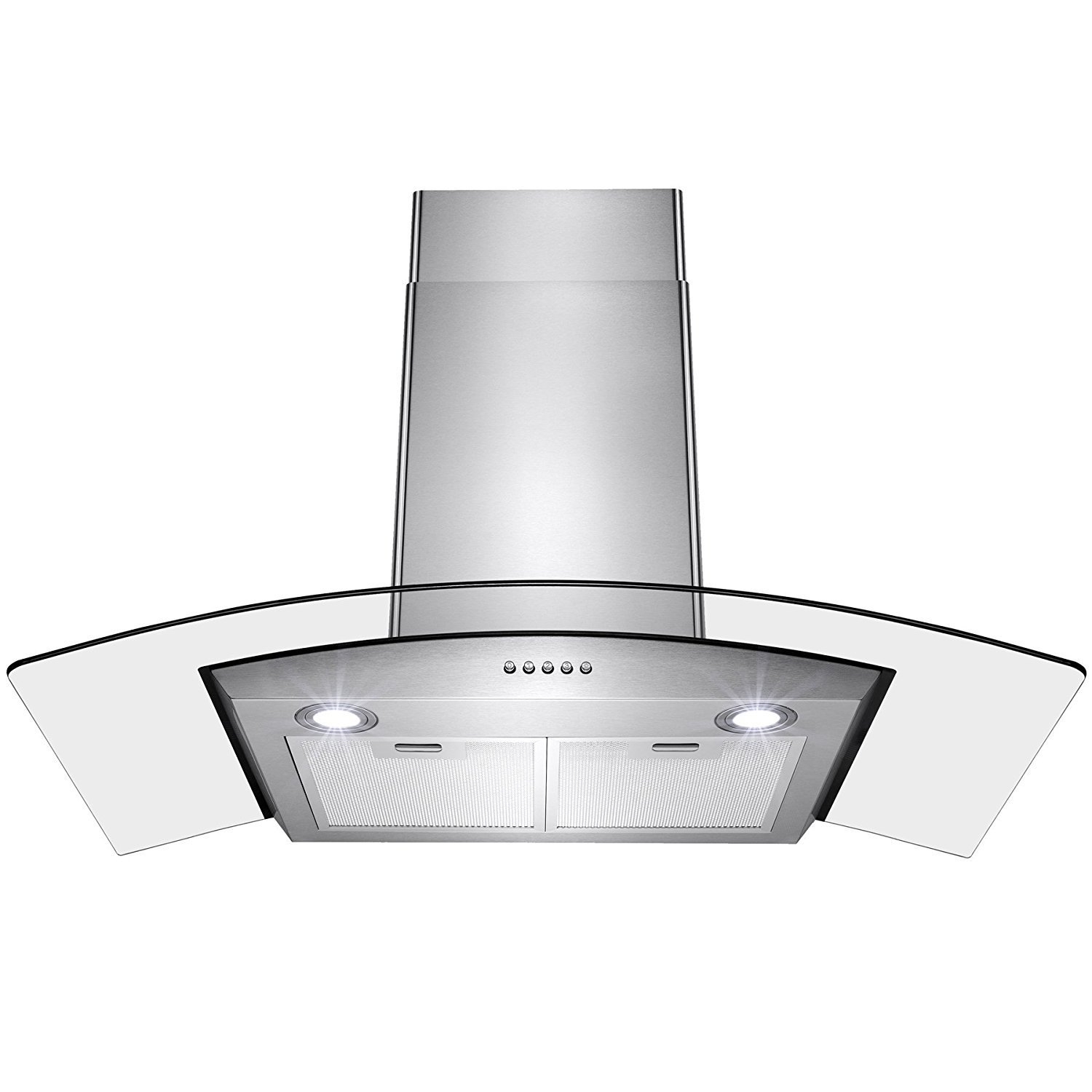 Perfetto Kitchen and Bath 36'' Convertible Wall Mount Range Hood in Stainless Steel with LEDs, Push Controls & Tempered Glass