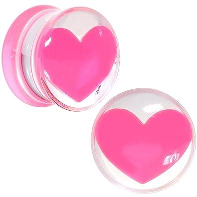 Amazon.com: Body Candy Acrílico Transparente Rosa Corazón ...