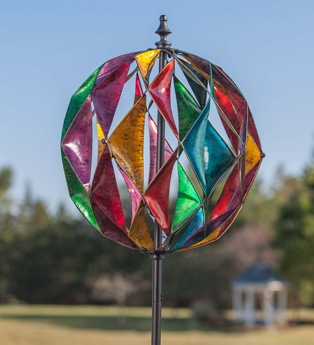 Harlequin Ball Wind Spinner - Antique Multi, 19 dia. x 75 H