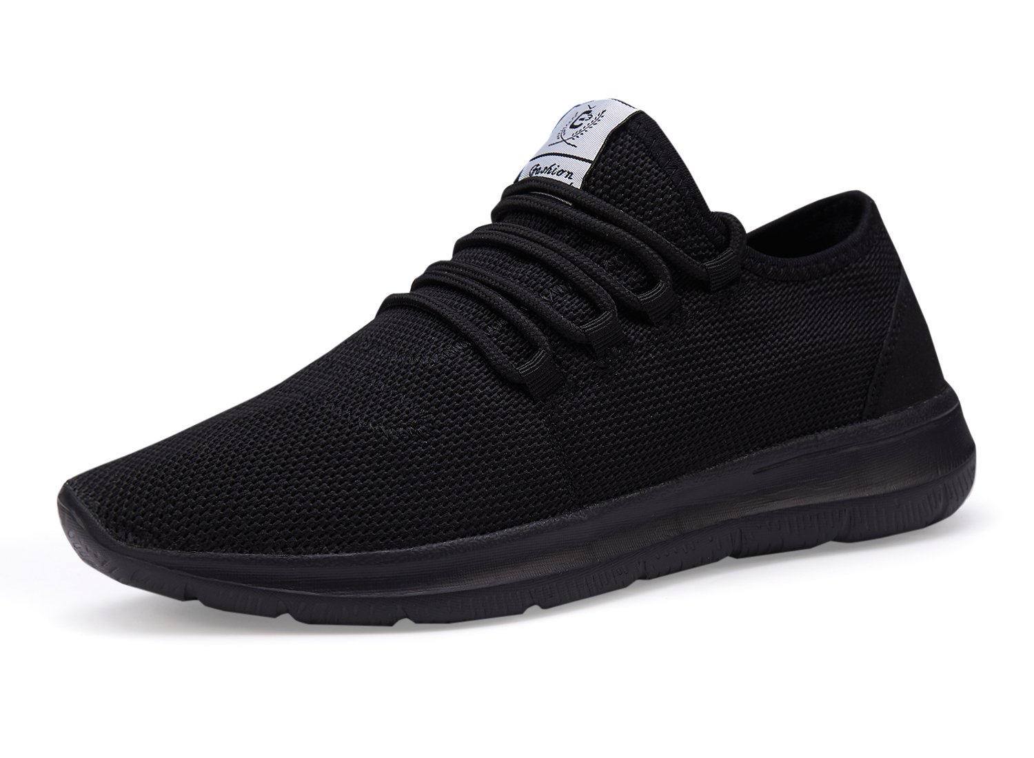 XUNMU Men's Walking Shoes Mesh Casual Athletic Shoes Running Shoes Lightweight Breathable Fashion Sneakers All Black 46 by XUNMU