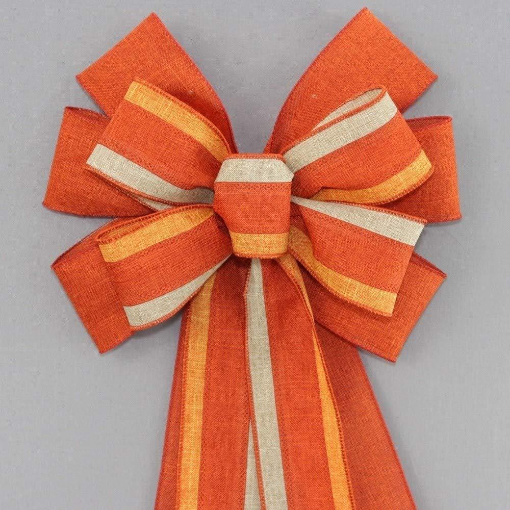 Burnt Orange Trio Rustic Fall Wreath Bow - 10