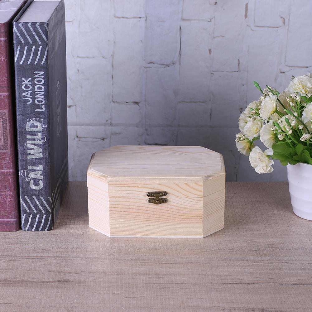 HighPlus 3X Octagonal Wooden Pirate Treasure Chest Wood Storage Decoupage Craft Box by HighPlus (Image #5)