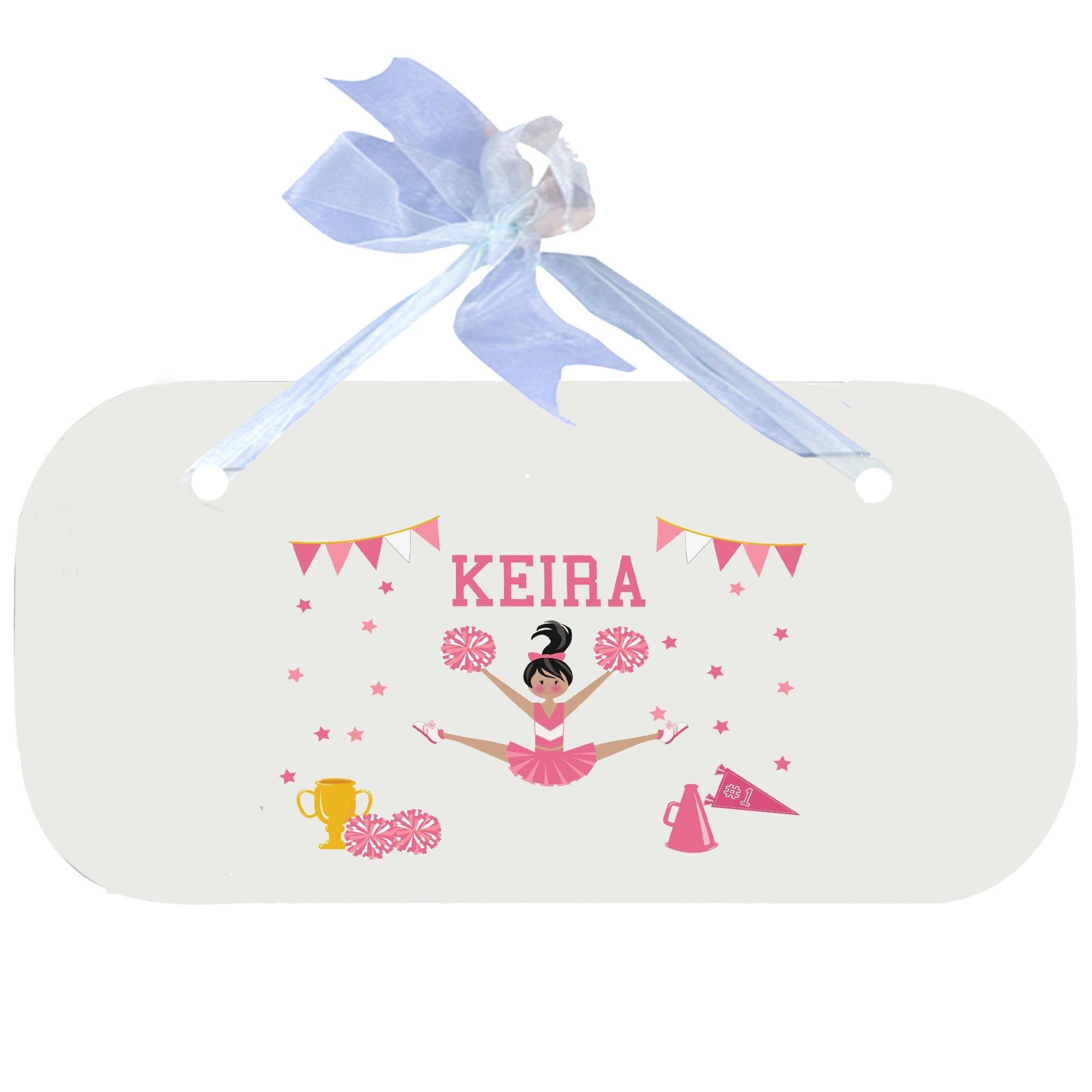 Personalized Cheerleader Black Hair Pink Wooden Door Hanger With Blue Ribbon