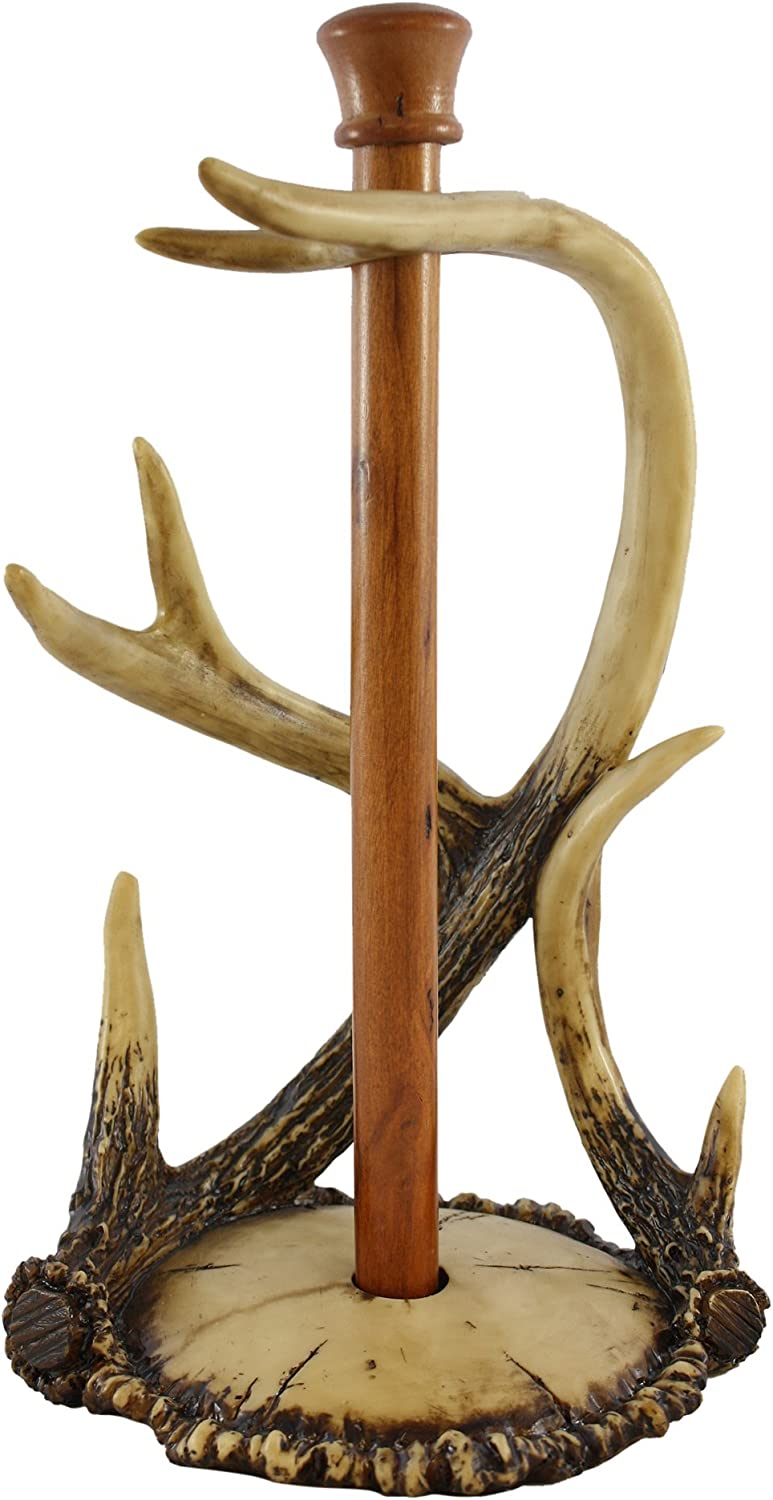 """Pine Ridge 14.5"""" countertop antler paper towel holder - Antler Collection, Rustic Design Magnetic Base Towel Holder For Home, Hunting Cabin and Lodge"""