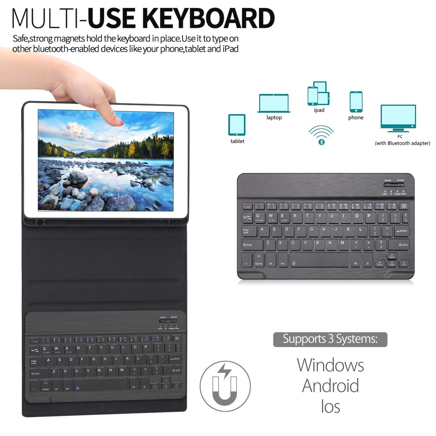 iPad Keyboard Case for iPad 6th Generation - iPad 5th Gen (9.7 inch) - iPad Air 1/2 - iPad Pro 9.7, Pencil Holder, Detachable Wireless Keyboard(without Backlight), iPad Keyboard Case 9.7 (Black, 9.7)