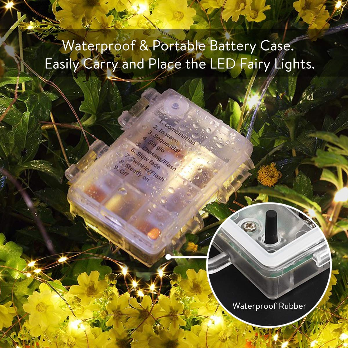 LightsEtc 8 Modes 2 Pack 33 Feet 100 Led Fairy String Lights with Battery Remote Timer Control Operated Waterproof Copper Wire Twinkle Lights for Room Wedding Garden Party Wall Tree Decoration
