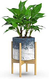Bamboo Plant Stands Indoor, Mid Century Plant Stand Flower Pot Holder Display Rack Rustic Decor Fits Up to 8/10 Inch (8 Inch, Nature)
