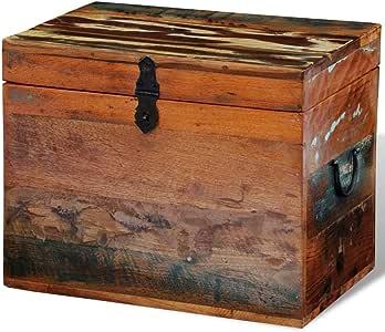 UnfadeMemory Baúl de Madera Vintage con Tapa,Arcon de Almacenaje,Caja Madera Decorativa,Estilo Antiguo,Madera Maciza Multicolor Reciclada,39x28x31cm: Amazon.es: Hogar