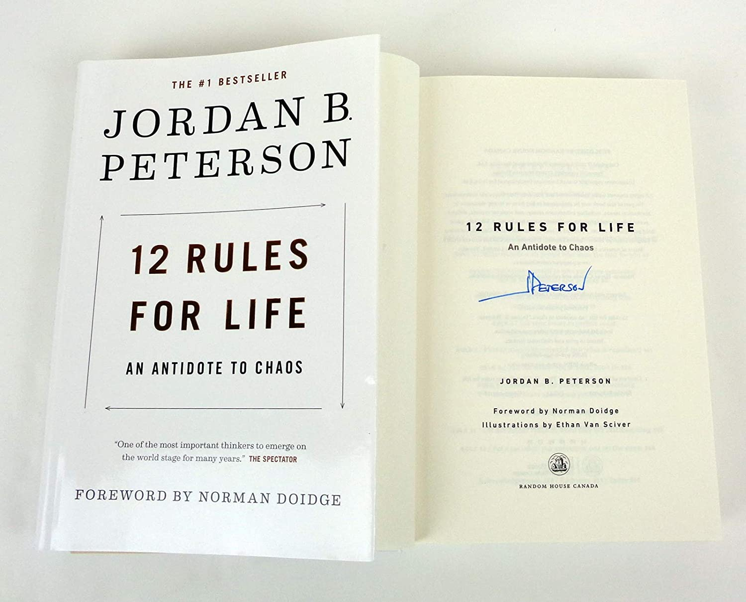 Jordan B Peterson Signed Autograph 12 Rules For Life: An Antidote For Chaos Book COA