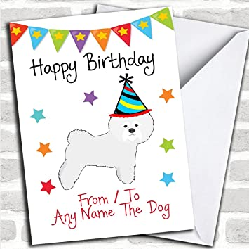 To From Pet Dog Bichon Frise Customised Birthday Greetings Card Cards Amazoncouk Office Products