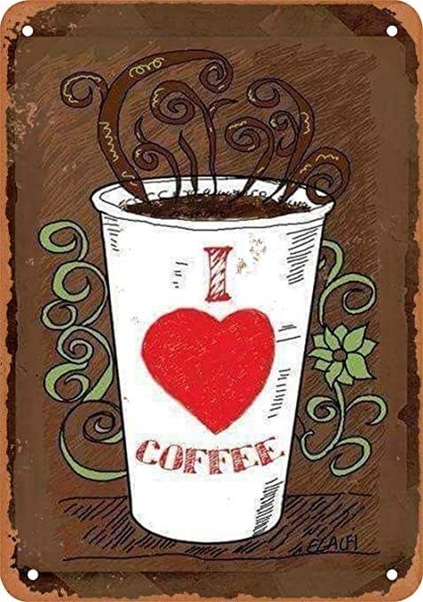 HiSign I Love Coffee Retro Cartel de Chapa Coffee Póster Bar ...