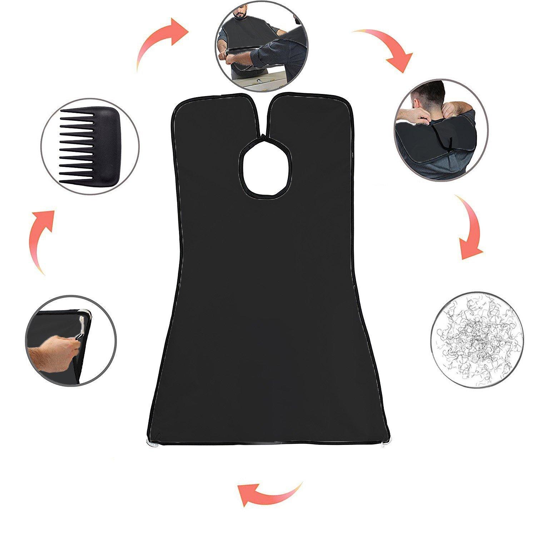 Karibbe Premium Beard Apron Cape + Free Shaper Template Comb & BeardStyles Ebook Included - Professional Salon Grade Black Hair Trimmings Cleaner for Men - Makes Grooming Disposal Easy / Black by WJkuku (Image #3)