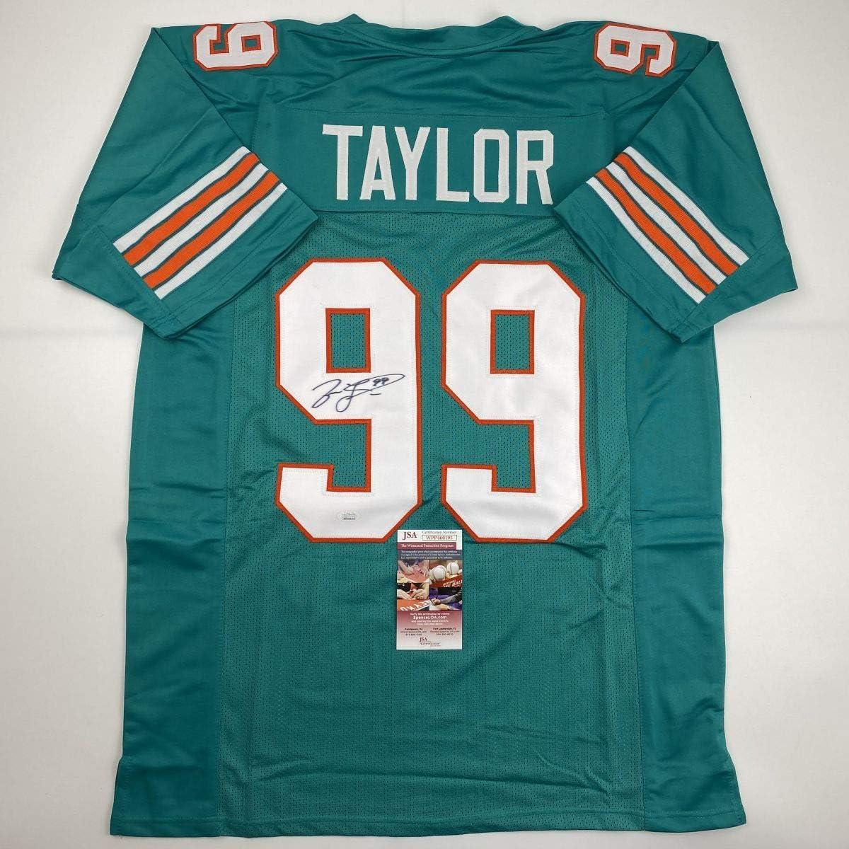 Autographed/Signed Jason Taylor Miami Teal Football Jersey JSA COA
