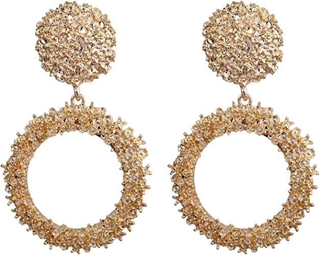 Big Acrylic Circle Drop Hook Earrings Women Statement Geometric Metal Earrings