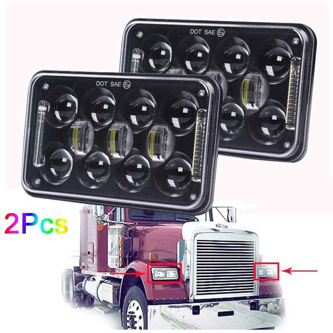 "60W Cree 4x6"" inch LED Headlights for Peterbilt 357/378 / 379 Hi/lo Beam Rectangular Headlamp Replacement for H4651/H4652/H4656/H4666/H6545-2Pcs COWONE"