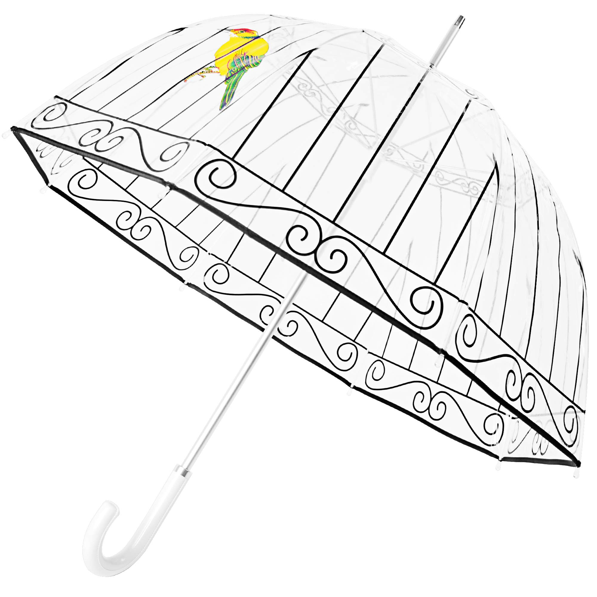 Kung Fu Smith Clear Birdcage Umbrella, Dome Bubble Rain Stick Umbrella with White Leather Handle by Kung Fu Smith