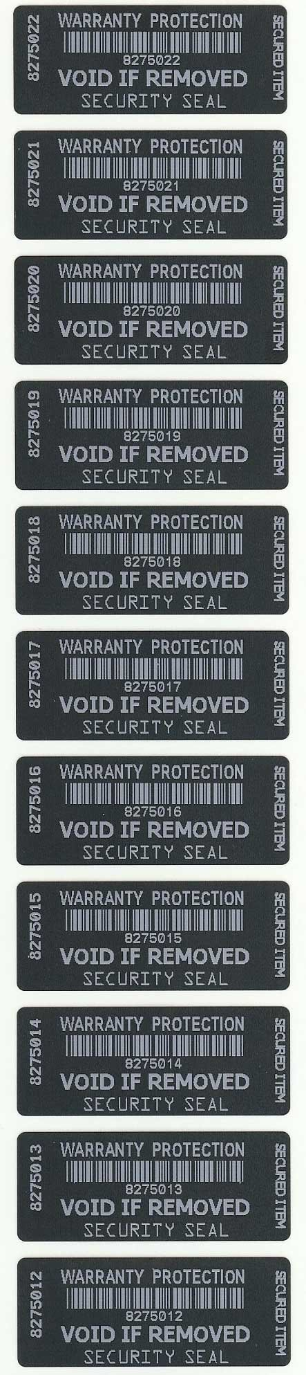 Warranty Void Black with White Printing Tamper Evident Security Labels / Stickers X 250 Each with Unique Serial Number