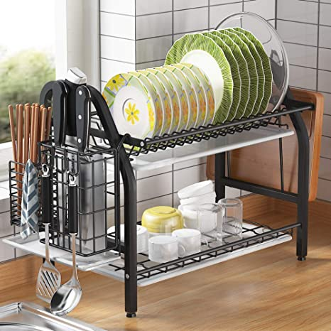 Dish Drying Rack GSlife 2 Tier Stainless Steel Dish Rack with Utensil Holder Cutting Board Holder and Dish Drainer for Kitchen Counter,Black