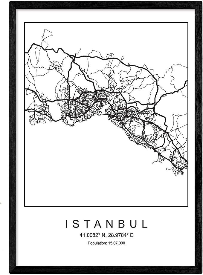 Nacnic Lámina Mapa de la Ciudad Istanbul Estilo nordico en Blanco ...