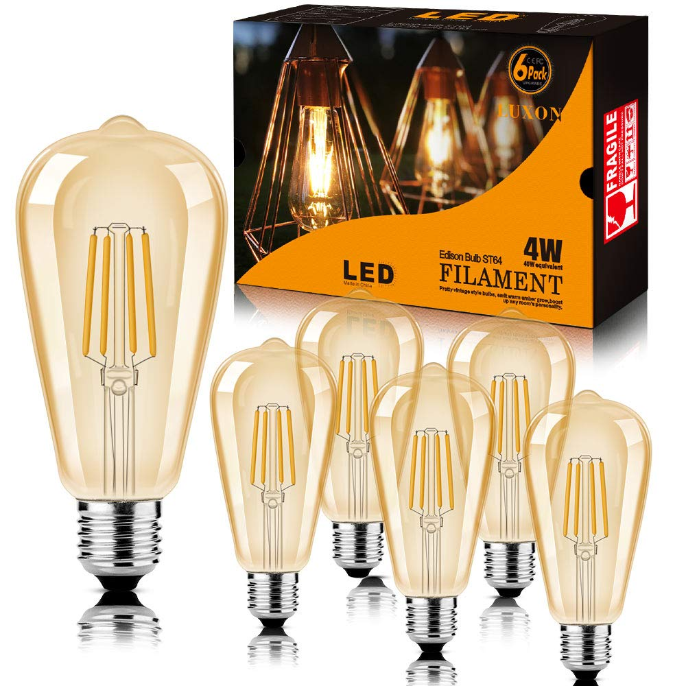 LED Edison Bulb Dimmable Amber Warm 2700K Antique amber
