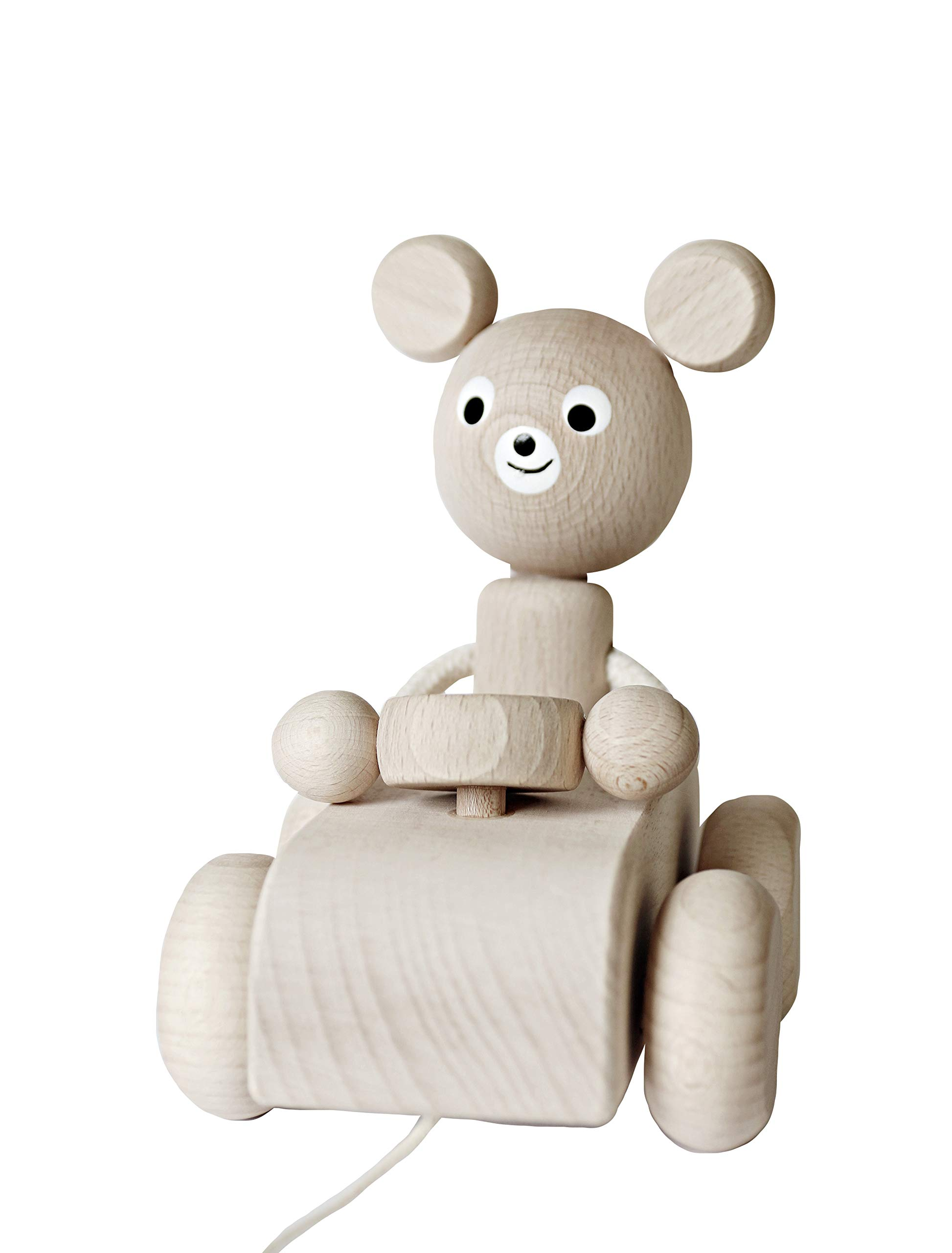 Ella&Frederik Natural Wooden Pull-Along Bear in The Car | Montessori Toys Handmade in Europe (Wilbert in The Car )