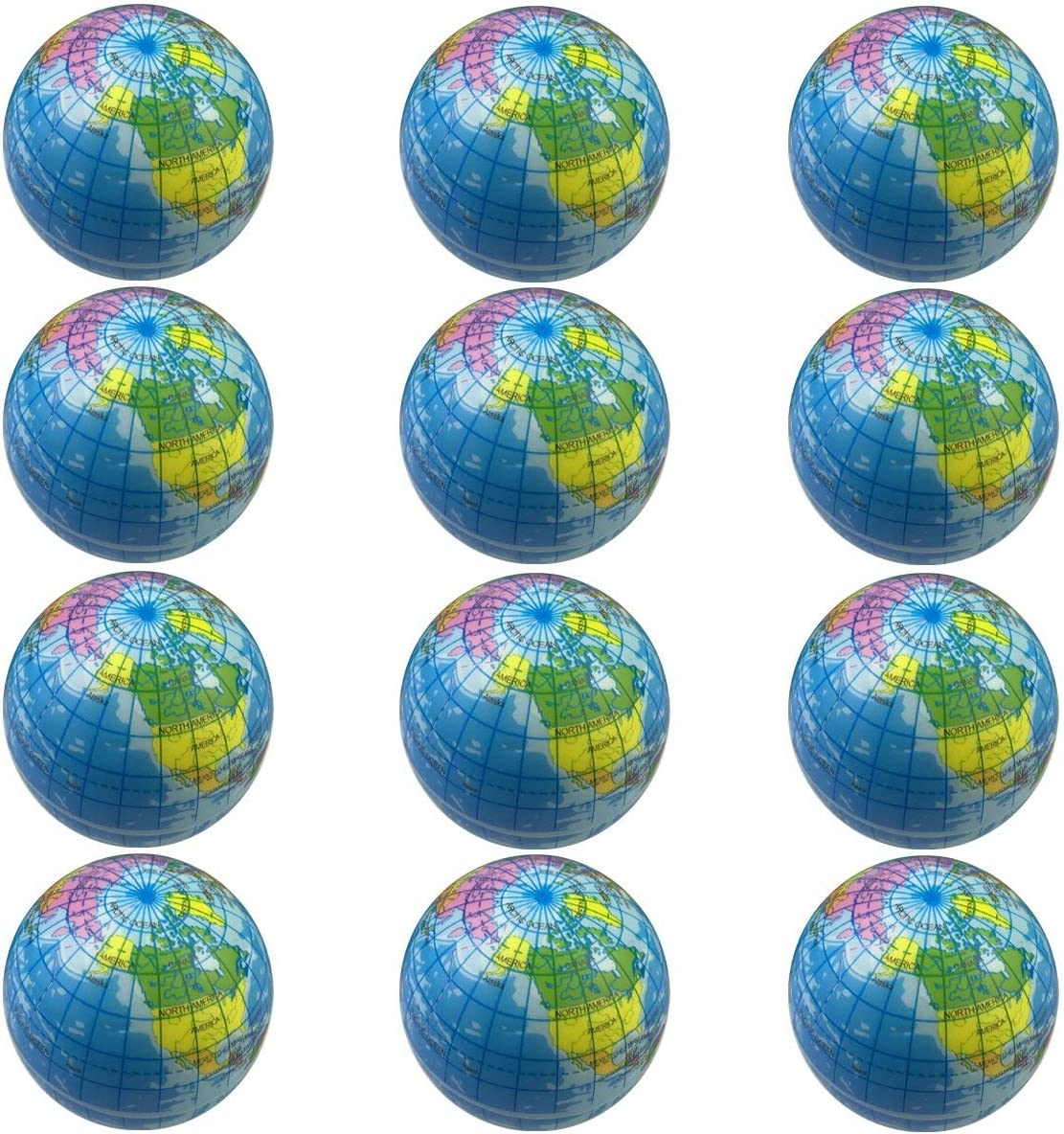 12pcs Squeeze Globe Hand Exercise Stress Relief Ball World Map Earth Kid Toy