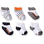 Yoga Sprout Baby 6-Pack No Show Socks, Navy/Orange, 12-24 Months