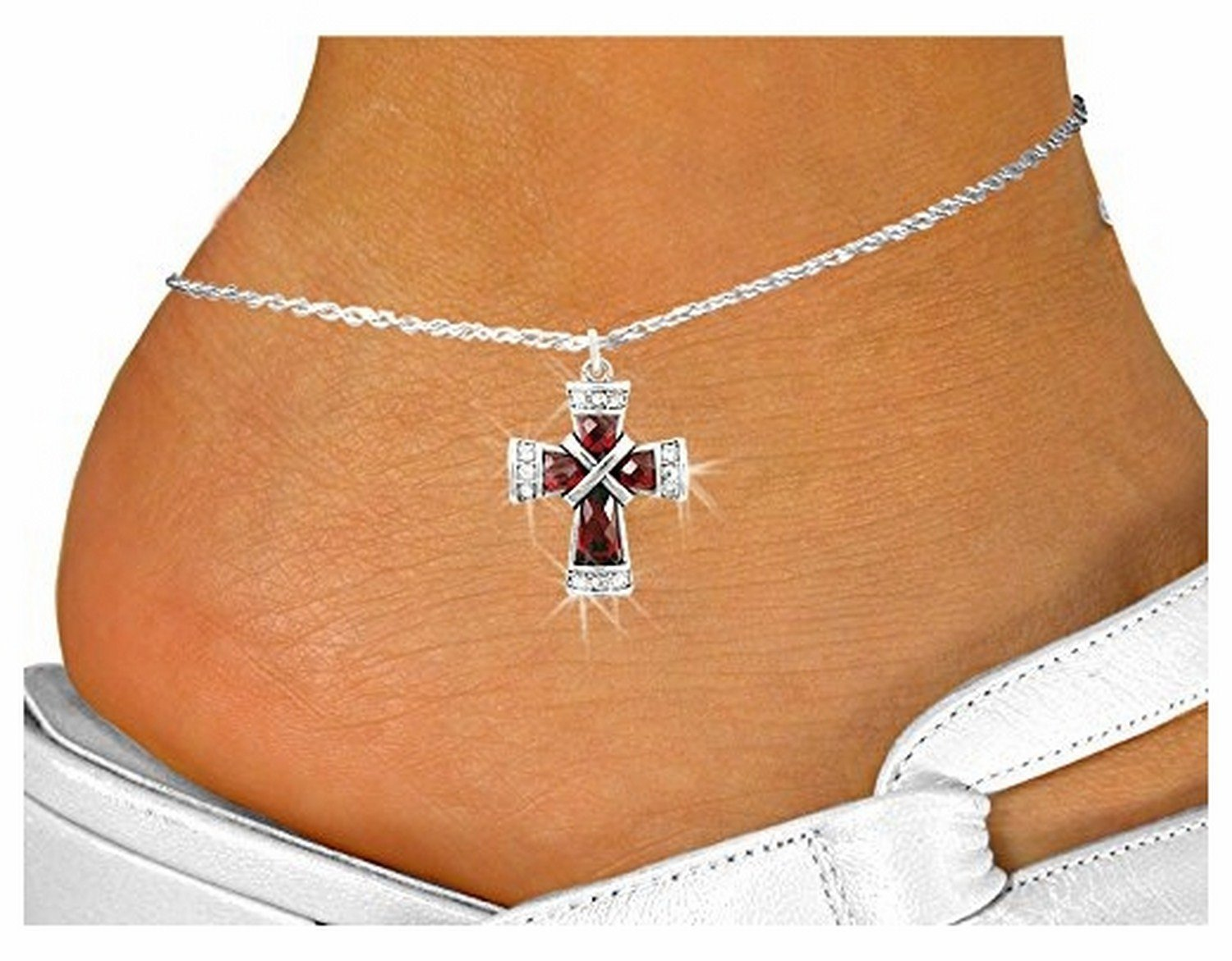 Ruby Crystal Cross Charm & Anklet