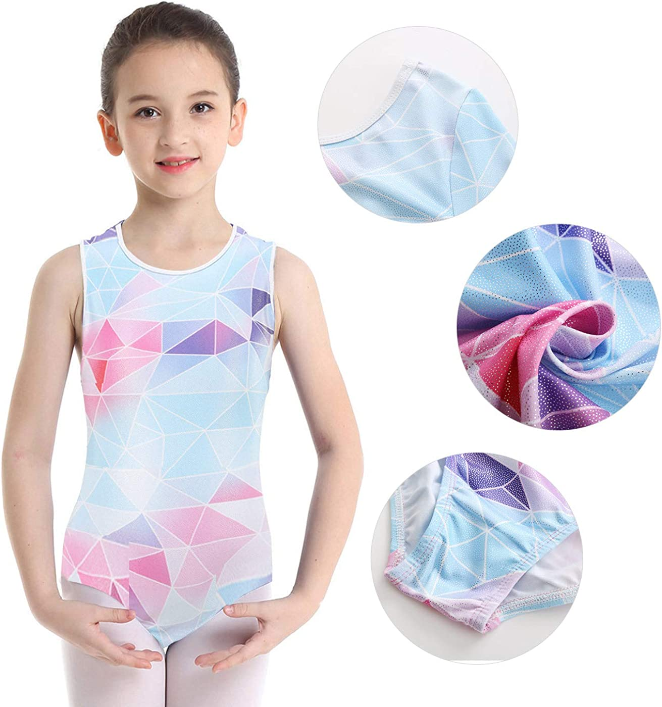 Happy Cherry Children Girls Gymnastics Leotards Sleeveless//Long Sleeve Shiny Sparkle Ballet Leotard Dancewear Practice Dancing Costume Multiple Colors 5-14 Years