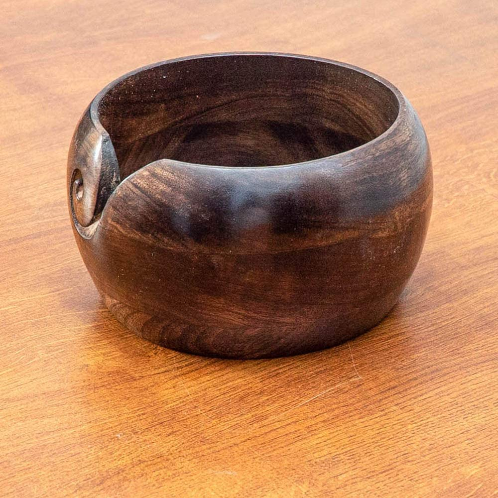 Durable and Portable Yarn Storage for Knitters Large Size 7 inches by 4 inches Nirvana Class Premium Wooden Yarn Bowl for Knitting and Crochet