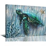 "Arjun Canvas Green Sea Turtle Wall Art Prints Submarine Picture One Panel 16""x12"" Blue Green Sea-Plant, Modern Landscape…"
