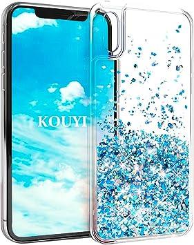 KOUYI Funda iPhone XS 5.8 Pulgada, Brillo Liquida Claro 3D Bling ...