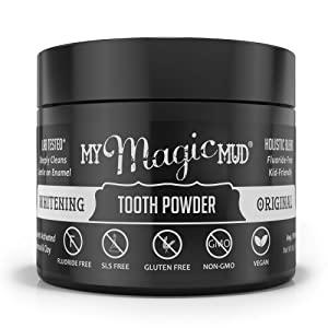 My Magic Mud - Whitening Tooth Powder, Polishing, Brightening, Charcoal, 1.06 oz. (150 uses (Original)