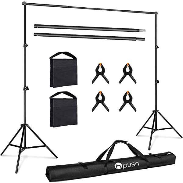RAYKUNRONG 10 x 6 Ft Backdrop Support Stand Adjustable Photography Studio Background Support System Kit with Carrying Bag for Photo Video Shooting