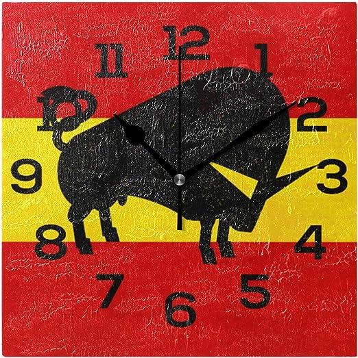 Amonka - Reloj de pared cuadrado con diseño de silueta de toro abstracta en la bandera de