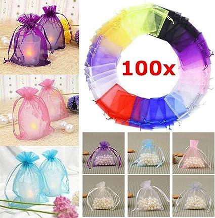 50 Pcs 7*9cm Organza Jewelry Packaging Bags Mesh Drawstring Gift Bag Storage bag