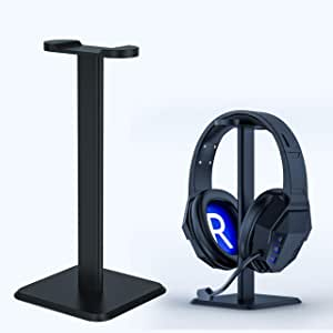 Headphone Headset Stand Gaming Aluminum Alloy Headset Holder Hanger Black White with ABS Solid Base Table Display for All Headphones Size -Black