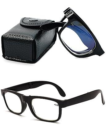 e82e0a7709f9 VEVESMUNDO Reading Glasses Men Women Anti Fatigue Foldable Modern  Presbyopia Optical Eyeglasses Readers Eyewear 1.0 1.5 2.0 2.5 3.0 3.5 4.0  with Leather ...