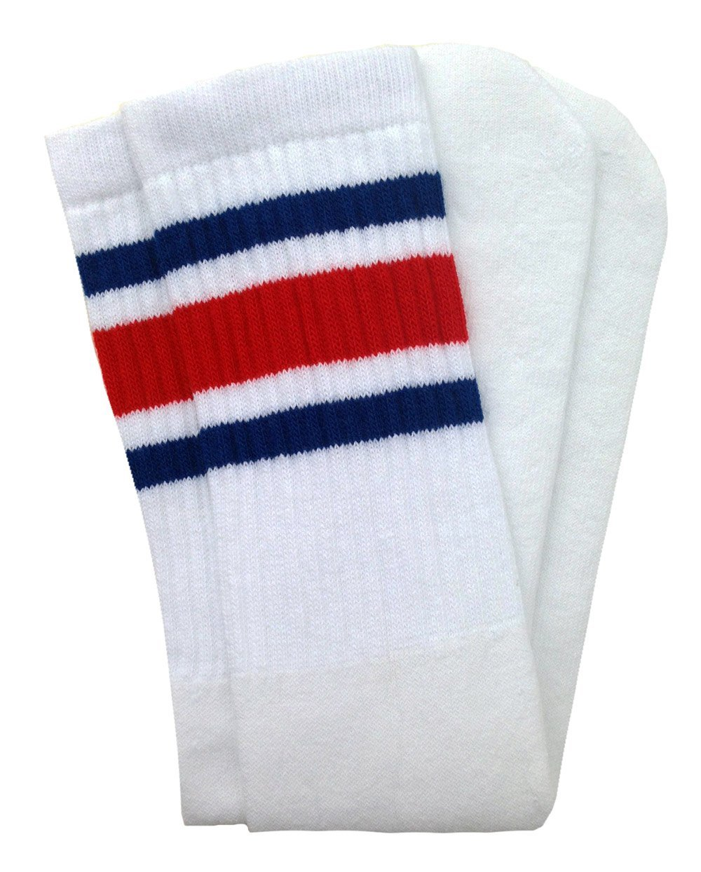 SKATERSOCKS Skater Socks 19'' Mid Calf White Tube Socks with Royal Blue-Red Stripes Style 3